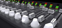 3d render of a DJ mixing desk sliders and knobs